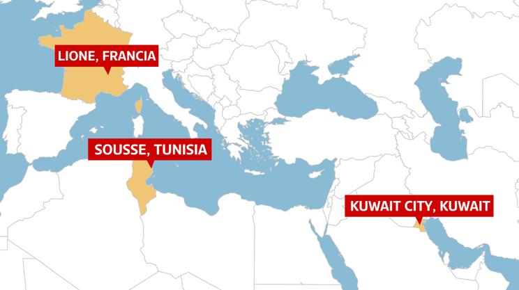 La mappa degli attentati di venerdì 26 - Francia, Tunisia e Kuwait