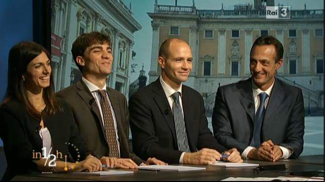 Da sinistra: Virginia Raggi, Enrico Stefàno, Daniele Frongia e Marcello De Vito