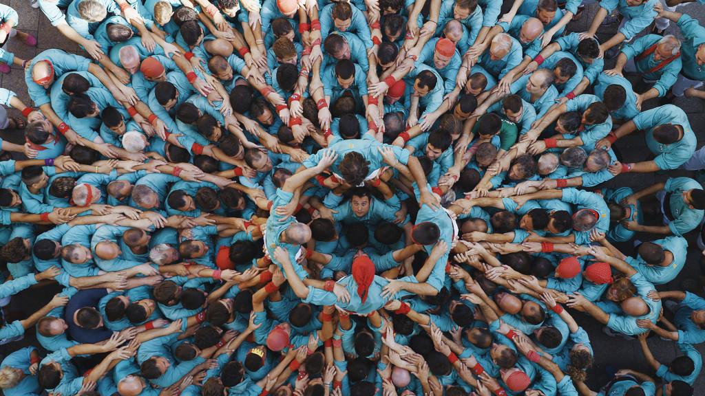 Castellers a Vilafranca del Penedès, Catalogna, Spagna