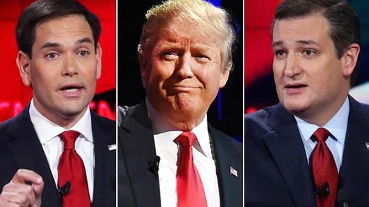 Da sinistra: Marco Rubio, Donald Trump e Ted Cruz. Fonte: www.cnbc.com