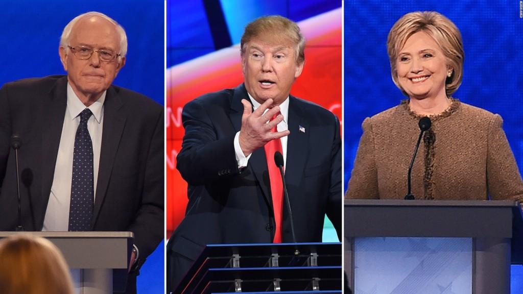 Da sinistra: Bernie Sanders, Donald Trump e Hillary Clinton. Fonte: cnn.com