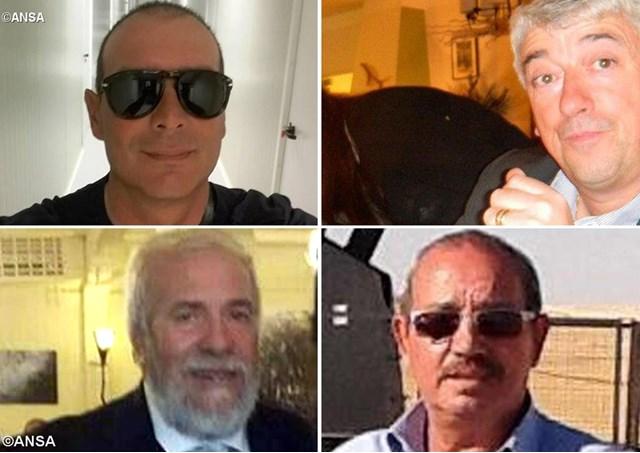 Da sinistra in alto in senso orario: Salvatore Failla (con gli occhiali neri), Gino Pollicardo, Fausto Piano (con gli occhiali neri), Filippo Calcagno (con la barba bianca) - ANSA