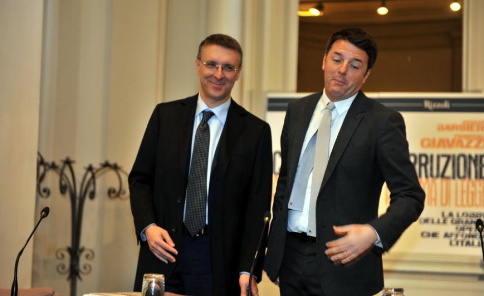 Il Presidente dell'Anac, Cantone, e Matteo Renzi. Fonte: formiche.net