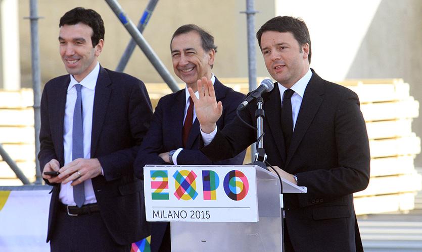 Da sinistra: il ministro Martina, Giuseppe Sala e Matteo Renzi. Fonte: www.primocanale.it