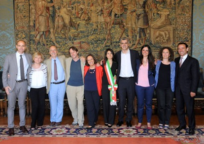 La giunta di Virginia Raggi. Da sinistra: Frongia, Muraro, Berdini, Bergamo, Marzano, Meloni, Meleo. Baldassarre, Minenna